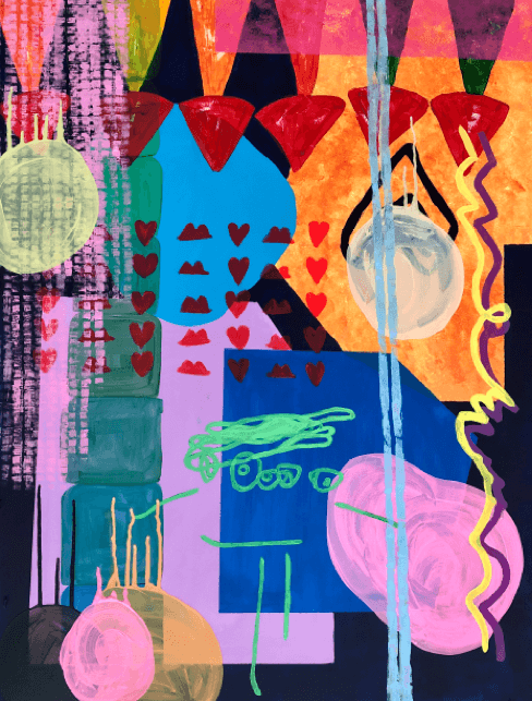Collage artwork by artist Hannah Fawcett with pinks, greens, oranges and blue.