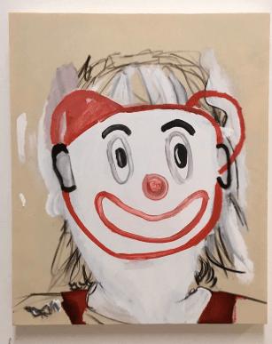 Painting of clown face by Husk Bennett