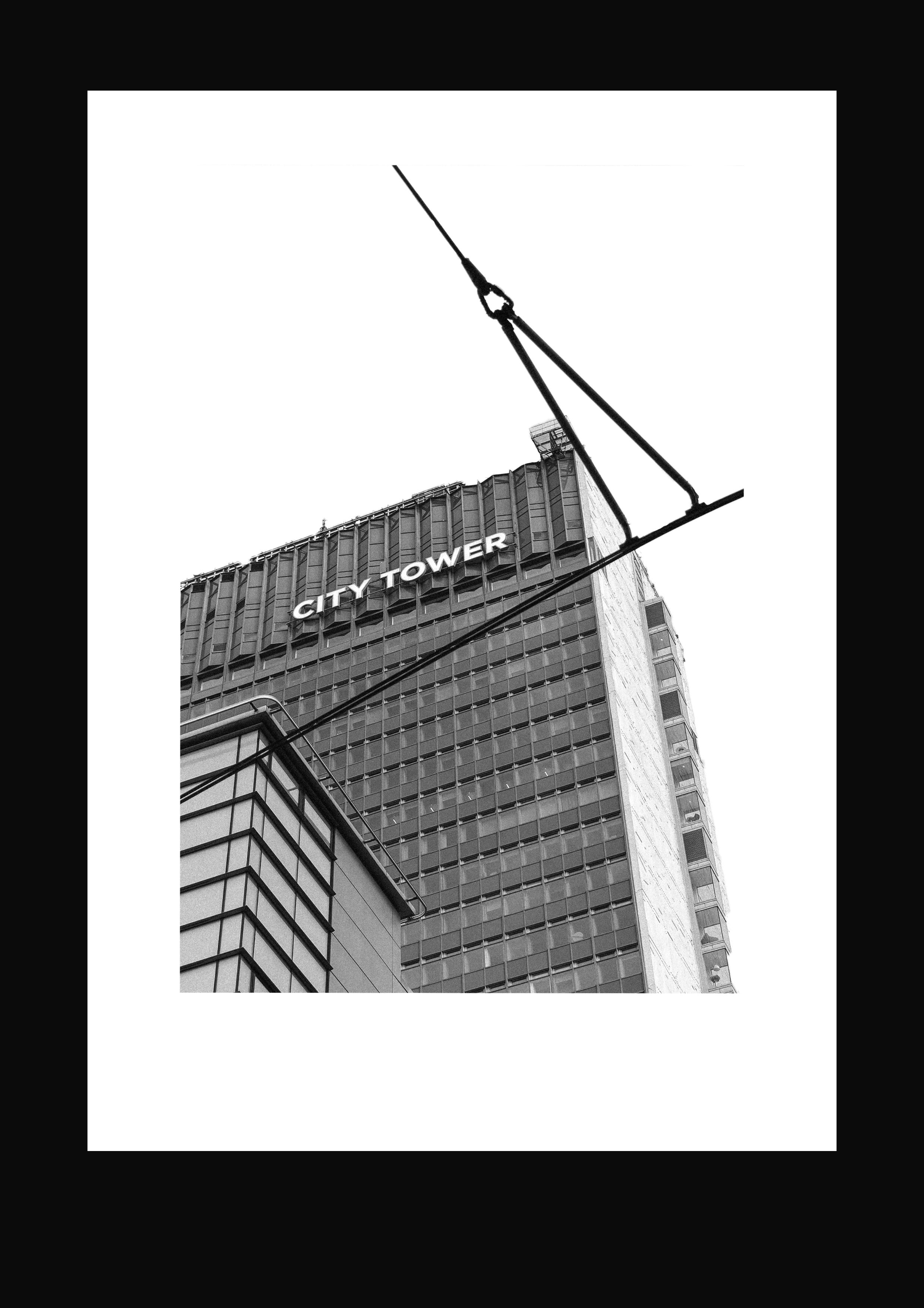 Black and white photograph of City Tower taken by Nia Thomas. Manctopia.