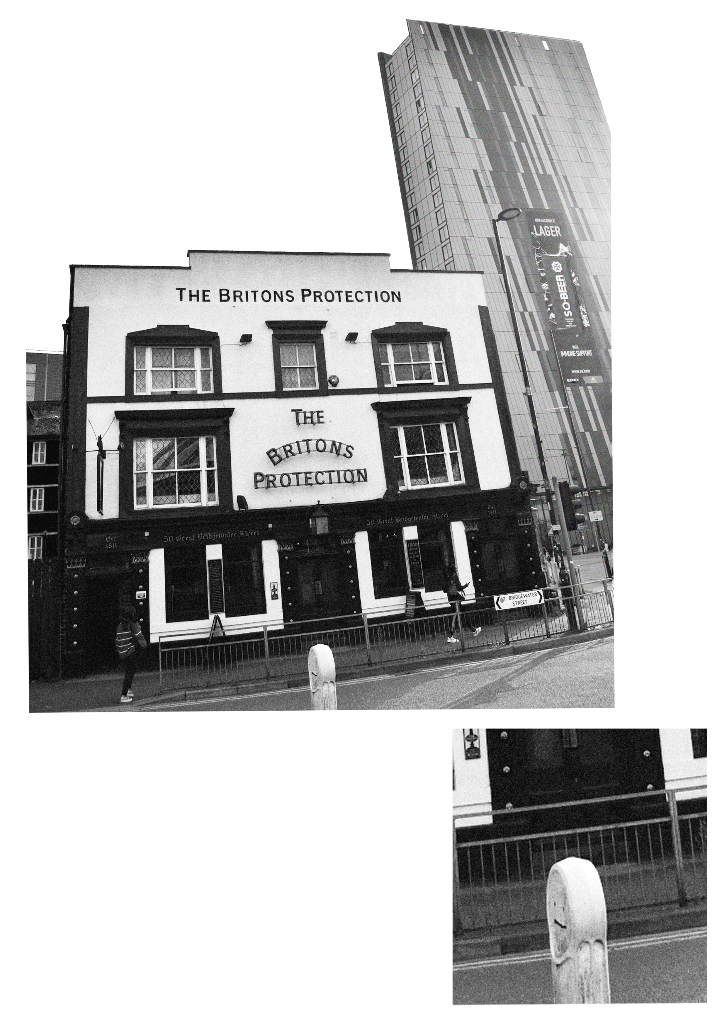 Black and white photograph of The Britons Protection pub. Manctopia.
