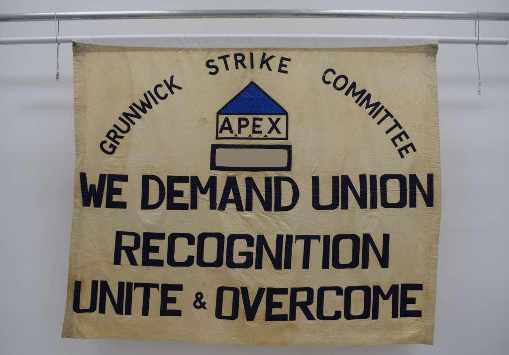 Grunwick Strike banner displayed in People's History Museum