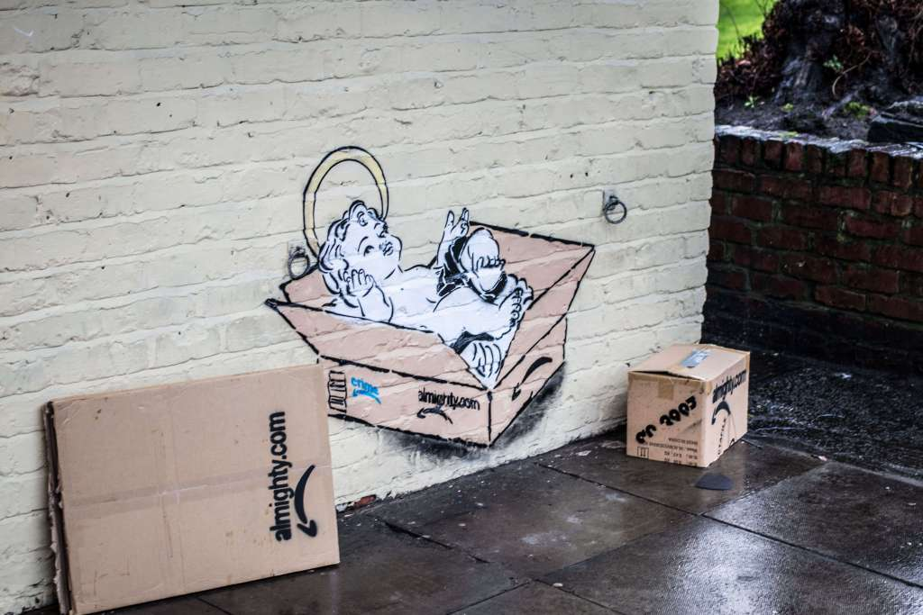 Mr Eggs's street artwork on a mensroom in Withington