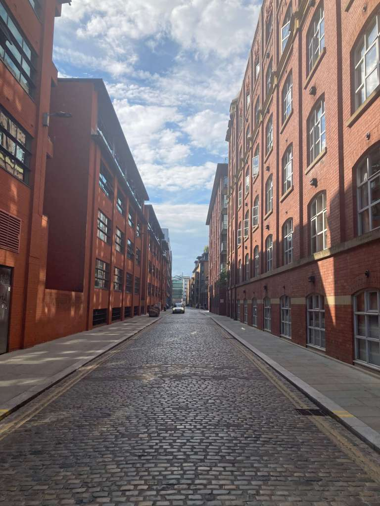 View down cobbled street in Manchester